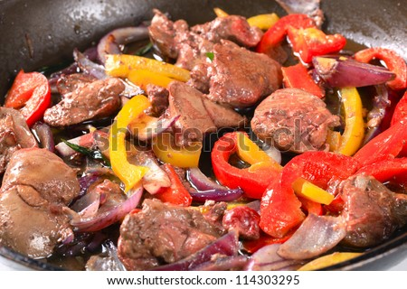 Chicken liver stir fry