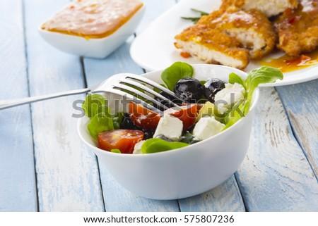 chicken meat Greek salad kitchen food blue wooden background #575807236