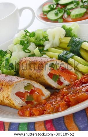 Chicken meat stuffed vegetables