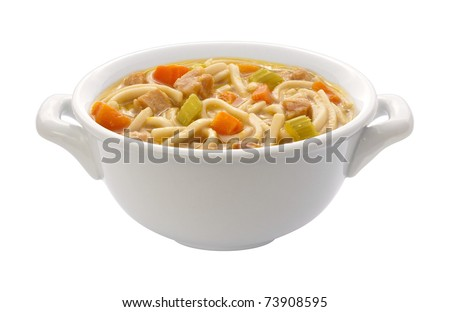 Chicken Noodle Soup isolated with a clipping path