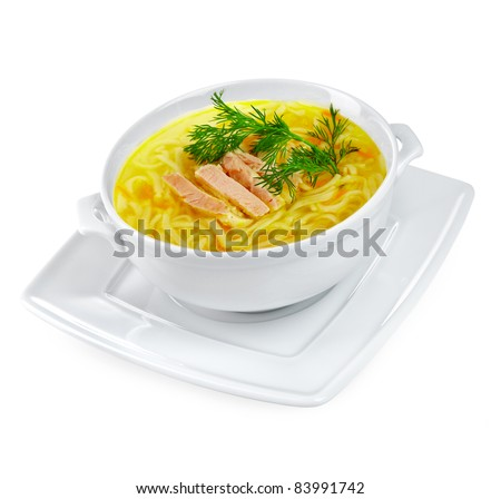 Chicken noodle soup on a white background