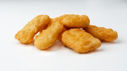 chicken nuggets on white background fried chicken nuggets