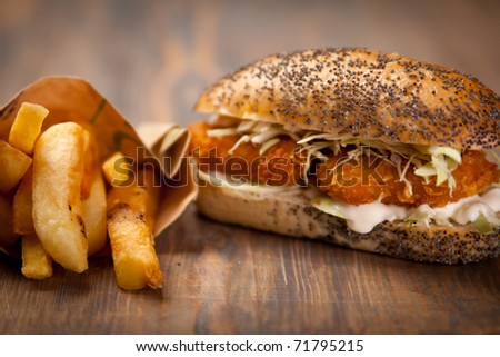 chicken nuggets sandwich and french fries