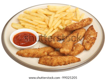 Chicken nuggets with chips and tomato ketchup