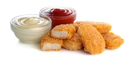 chicken nuggets with red and white sauce, ketchup on white isolated background. fast food