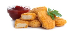 chicken nuggets with red ketchup sauce on white isolated background. fast food