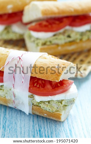 Chicken Pesto Sandwich With Tomato And Mozzarella