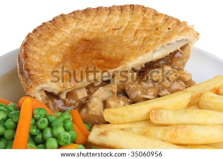 Chicken pie with chips, peas and carrots