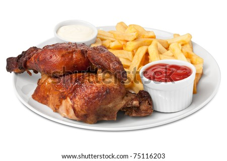 Chicken roasted with fries
