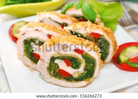 spinach roulades chicken roulade with spinach chicken roulade with ...