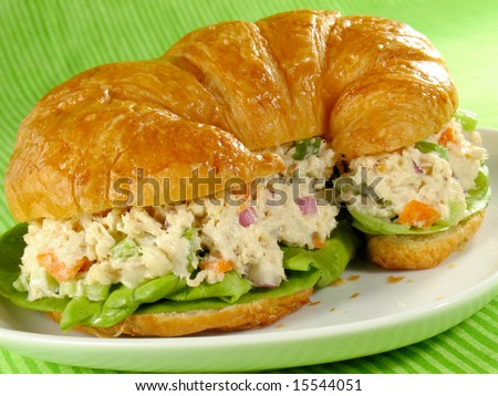 Chicken salad on a flaky butter croissant