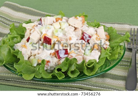 Chicken salad with apple pieces on top of lettuce #73456276