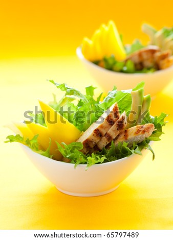 Chicken  salad with avocado and mango