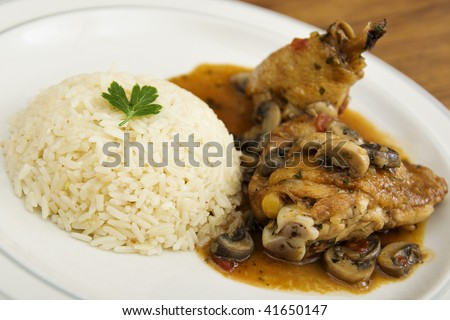 Chicken saute chasseur with rice pilaf