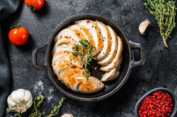 Chicken sliced breast fillet in a frying pan. Grilled steak. Black background. Top view