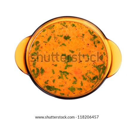 Chicken soup ,bowl glass close up, on white background