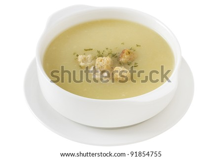 chicken soup in the white bowl