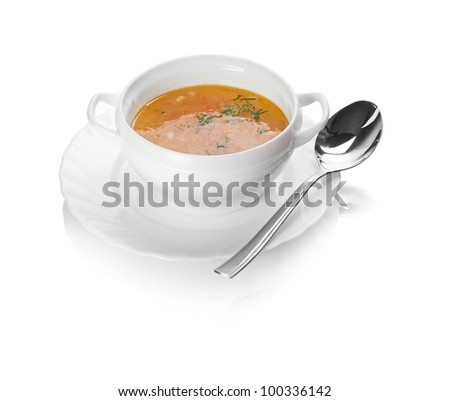 Chicken soup isolated on white - stock photo