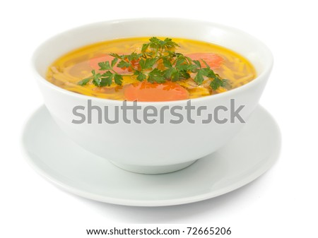 Chicken soup isolated on white