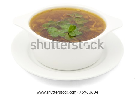 chicken soup on a white background