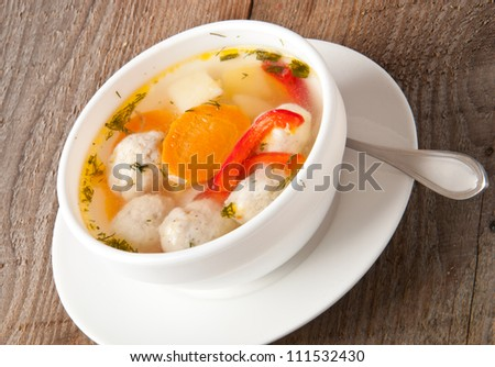 chicken soup with meatballs