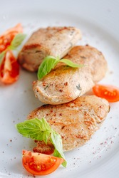 chicken Sous Vide cooked with grilled vegetables