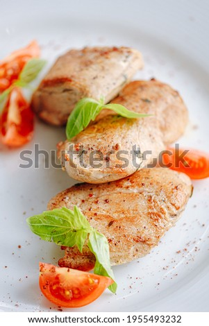 chicken Sous Vide cooked with grilled vegetables Photo stock ©