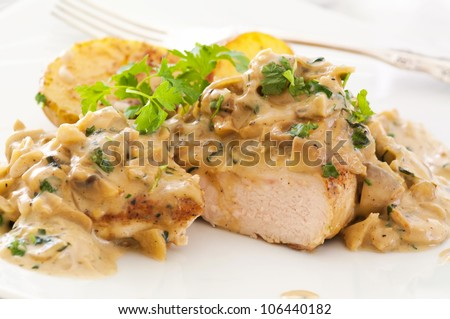 Chicken steak with mushroom cream sauce