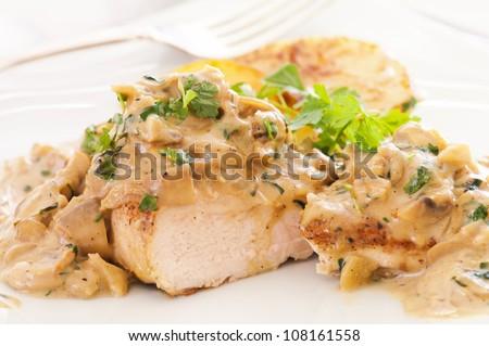 Chicken steak with mustard mushroom cream sauce