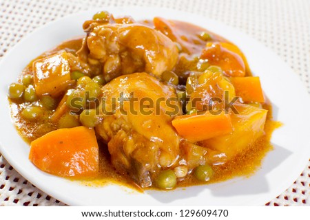 Chicken Stew With Potatoes, Carrots, Green Peas In Tomato Sauce. Stock ...