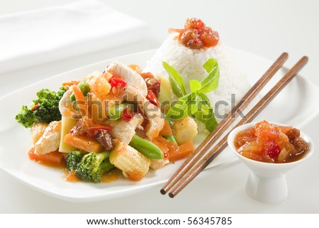 Chicken stir fry with chutney