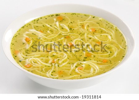 Chicken stock with noodles
