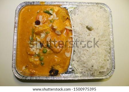 Chicken subji ,with chicken, fresh vegetables, raisins, almonds and creamy creamy cream sauce and rice  #1500975395