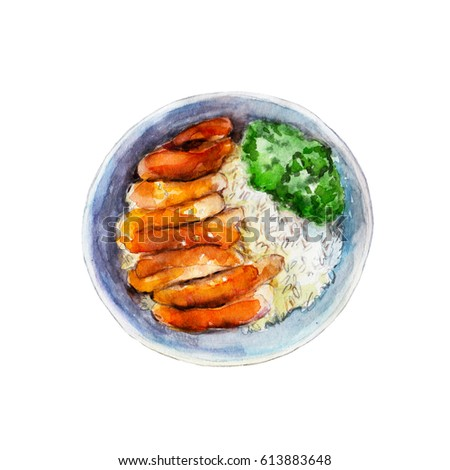 Chicken teriyaki with rice and vegetables, watercolor illustration isolated on white background.