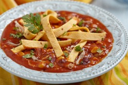 Chicken Tortilla Soup with Bean, Corn and Tomato