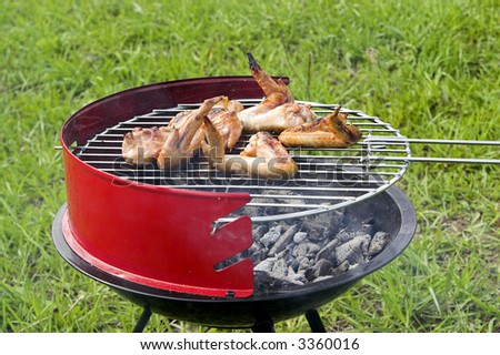 Chicken wings grilling in the barbecue