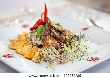 Chicken wings meat on a plate in restaurant. Baked diced potatoes, vegetables and sprouts, around with spices.