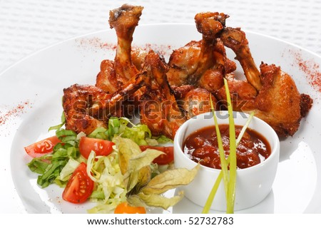 chicken wings with hot spicy barbecue sauce