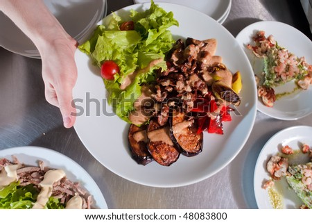 Chicken with grilled vegetables and salads behind
