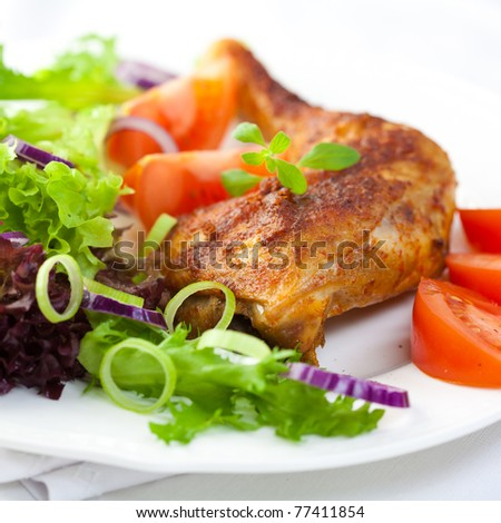 Chicken with vegetable salad - stock photo