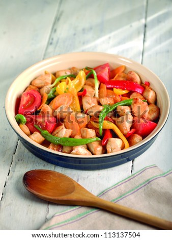 chicken with vegetable saute
