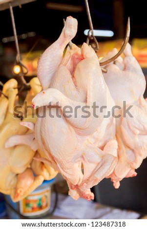 Chickens was hanging in the market for sell.