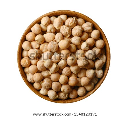 Chickpea, uncooked chickpeas in wooden bowl isolated on white. Top view