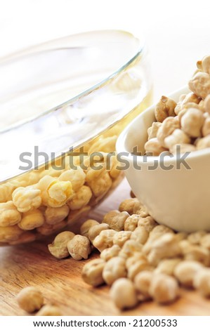 Chickpeas dried in a bowl and soaking in water