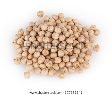Chickpeas isolated on white background with clipping path