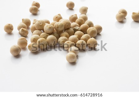 Chickpeas on a white background placer #614728916