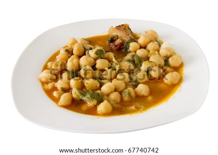chickpeas soup on a white plate isolated on white