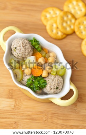 Chickpeas soup with meatballs and vegetables