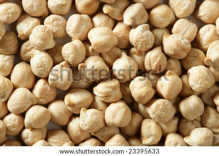 Chickpeas texture background at studio over white