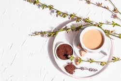 Chicory coffee with fresh flowers and powder. Natural caffeine-free drink in a white cup. Alternative replacement for coffee, caffeine. White plaster background, top view